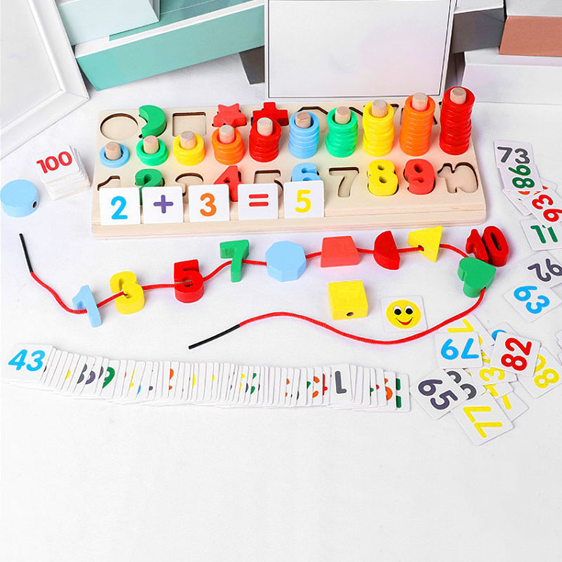 5 In 1 Colorful Montessori Educational Wooden Toys Geometric Shape Matching Puzzle Teaching Aids Educational Toys For Children