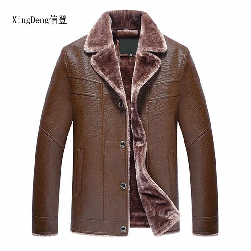XingDeng искусственная кожа мужские деловые теплые куртки из искусственного меха мужские верхние пальто Высококачественная Верхняя одежда Му...