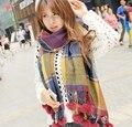Зимы женщин кашемира шарф 2015 новых европейских мода марка большой толстый шерстяной шарф кисточкой плед теплый пашмины очень большой шарф