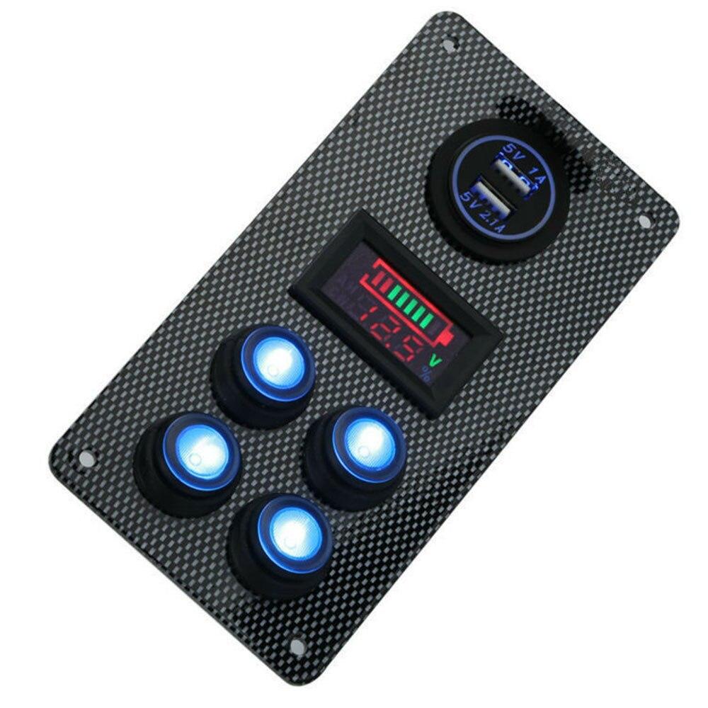 Boat Camper 12/24V LED Rocker Switch Control Panel Voltmeter + Dual USB