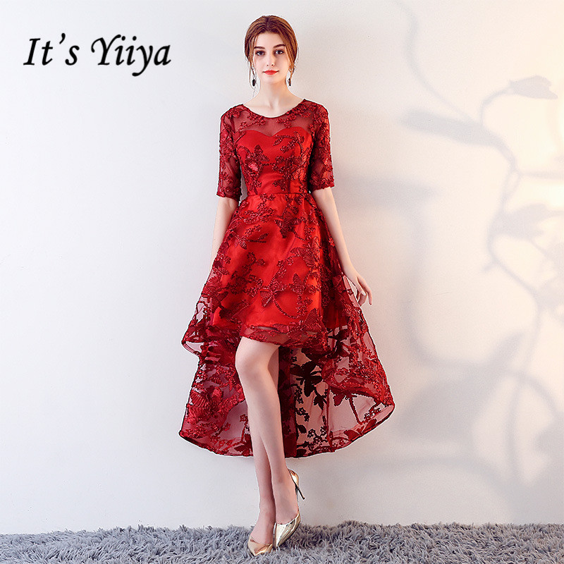 It's YiiYa Illusion Red O-Neck Half Sleeve Appliques Lace Zipper   Prom     Dresses   High And Low Tea Length Formal   Dress   LX449