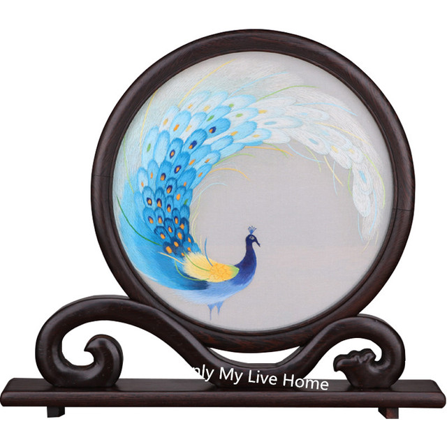 Luxury Office Home Decor Ornaments  Hand Double-side Peacock Silk Embroidery Pattern Table Screen Lucky Wenge Frame Crafts Gifts