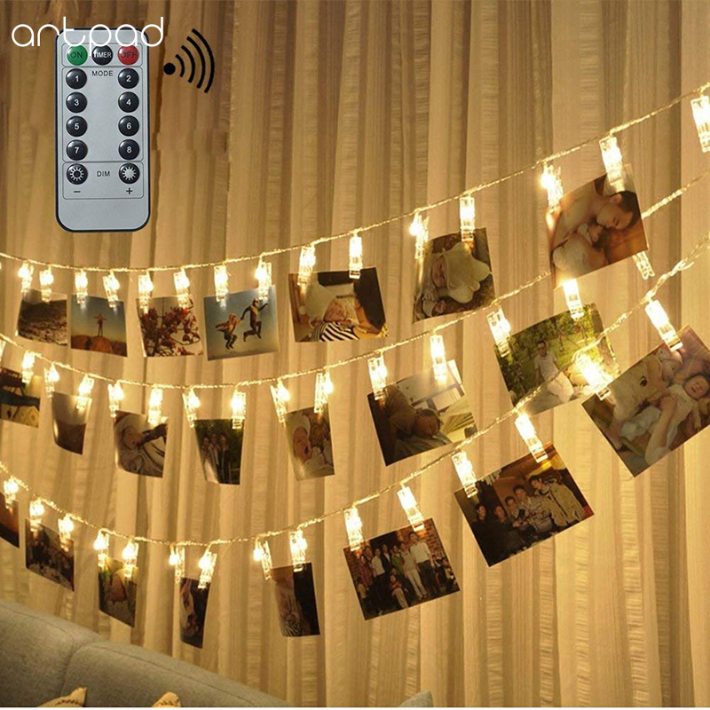 Artpad 6M 40 Leds Clip String Lights Battery Dimmable Clip Holder Fairy Light Led Party Christmas Decoration With Remote Control|LED String| |  - title=