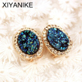 2016 Boutique Gold Plated Oval High Quality Crystal Stud Earrings For Women Round Rhinestone FREE SHIPPING XY-E550