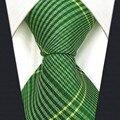B19 Checkes Verde Do Casamento De Seda Gravata Dos Homens Gravata Moda Laços do Clássico para o sexo masculino Vestido Lenço extra longo tamanho