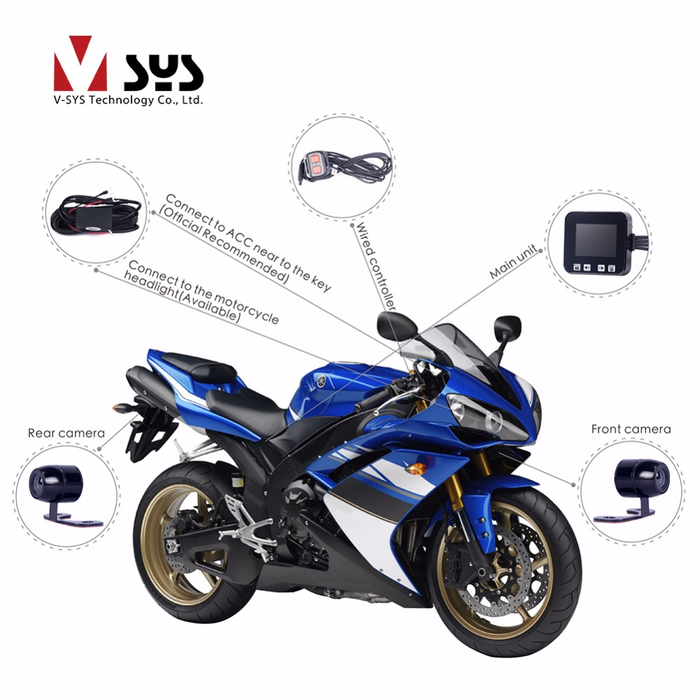 VSYS C6 Dual Motorcycle Camera Recorder Video Registrator Waterproof Motorcycle DVR with GPS Tracker Helmet Dash Camera цена