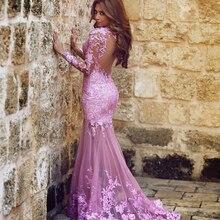 Модное платье с аппликацией, шнуровкой, в стиле русалки, длина до пола, платье для выпускного вечера с длинным рукавом, вечерние платья для свадебной вечеринки на заказ