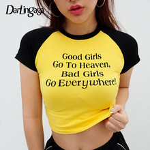 Darlingaga Cotton casual yellow tshirt women tops tees letter short sleeve crop top contrast color t-shirts 2019 summer clothes(China)