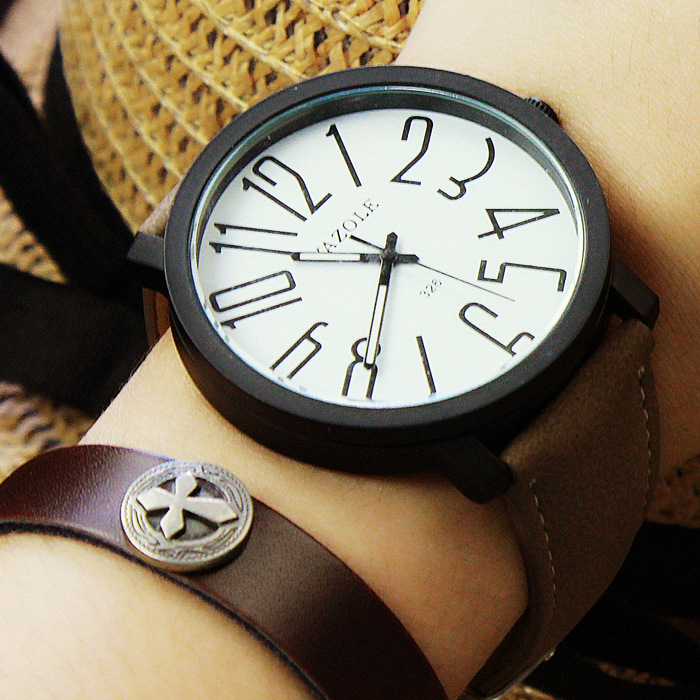 Fashion YAZOLE Brand Big Number Sport Cool Leather Black Brown Quartz Wristwatches Watch Men Male 1pc Wholesale OP001