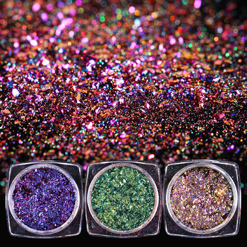 1 box 0.2g Chameleon Flakes Multichrome Nail Holo Flakes Galaxy Nail Flecks Powder Shimmer Nail Art Glitter Dust