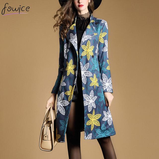 Nueva Moda Tallas grandes 2XL Mujeres Otoño Invierno Impreso Flores Bolsillos Botón Cubierto Larga Trinchera Capa Femenina de Trabajo OL Outwear
