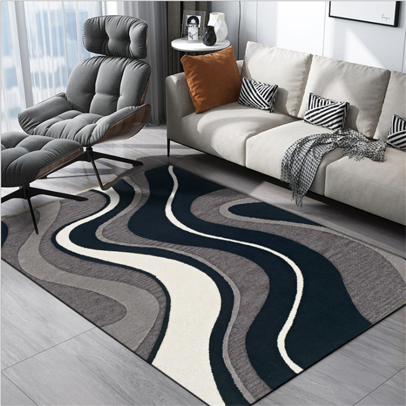 AOVOLL European And American Atmospheric Geometric Curve Blue Gray White Carpet Carpets For Living Room Area Rug Floor Mats