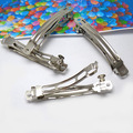 20pcs White Steel  Automatic Spring Clip Hairpin Base Blank Bezel Fit DIY Headwear Craft Findings