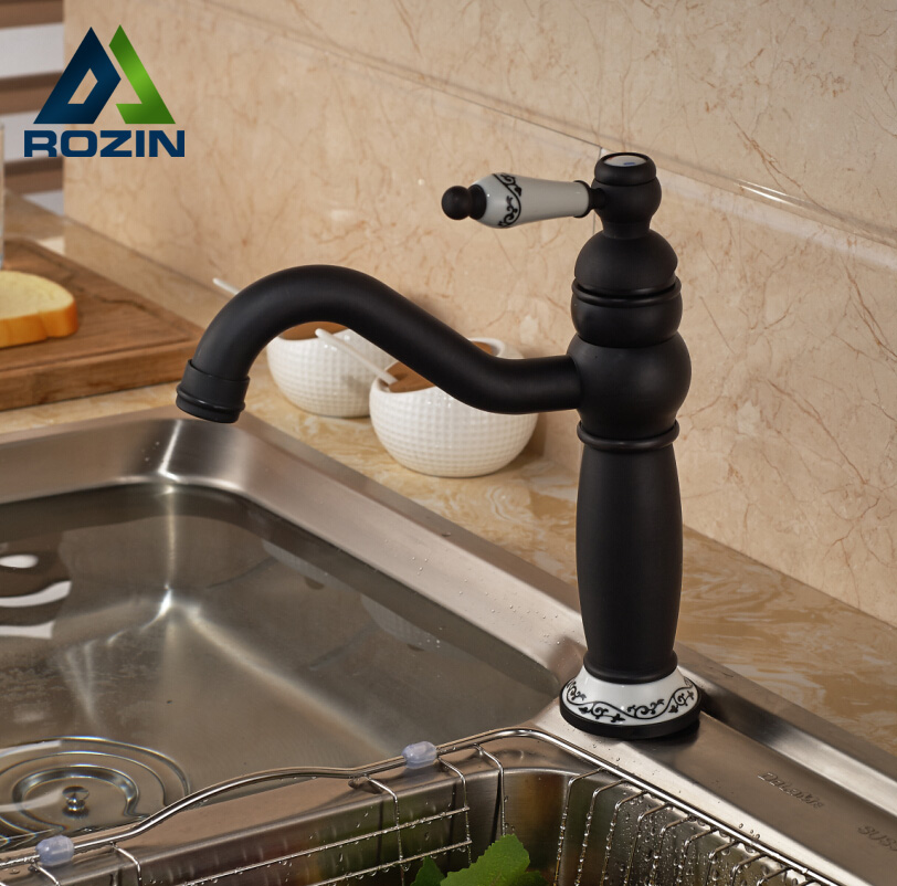 ФОТО Oil Rubbed Bronze Single Lever Kitchen Mixer Taps Deck Mount Swivel with Hot Cold Water