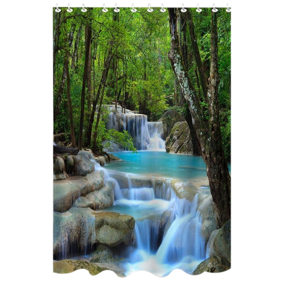 72 Inch Shower Curtain Waterproof Bath Screens Polyester Fabric Waterfalls Nature Scenery Bathroom With 12 Hooks