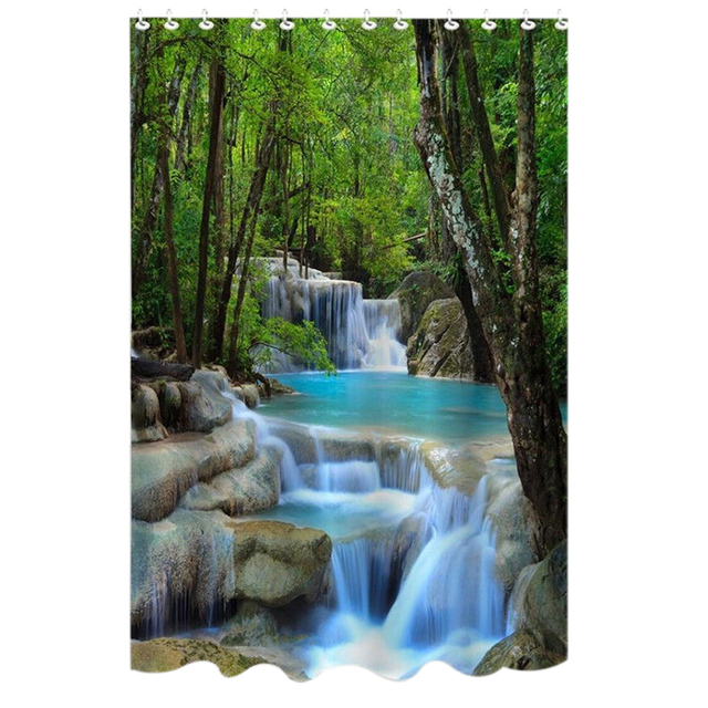 72 Inch Shower Curtain Waterproof Bath Screens Polyester Fabric Waterfalls Nature Scenery Bathroom With 12