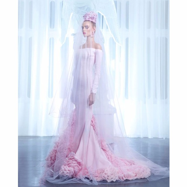 2017 Haute Couture Wedding DRess Pink Wedding Gown Fashion Color ...