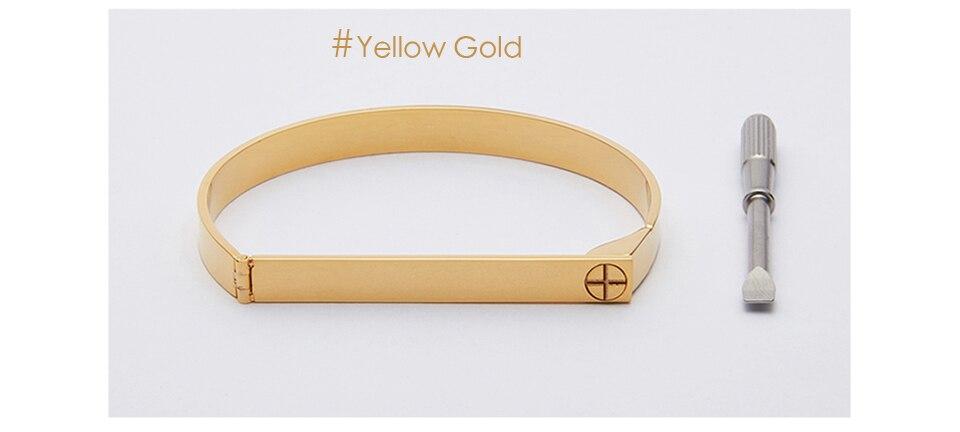 Enfashion Personalized Engraved Name Bracelet Gold Color Bar Screw Bangle Lovers Bracelets For Women Men Cuff Bracelets Bangles 13