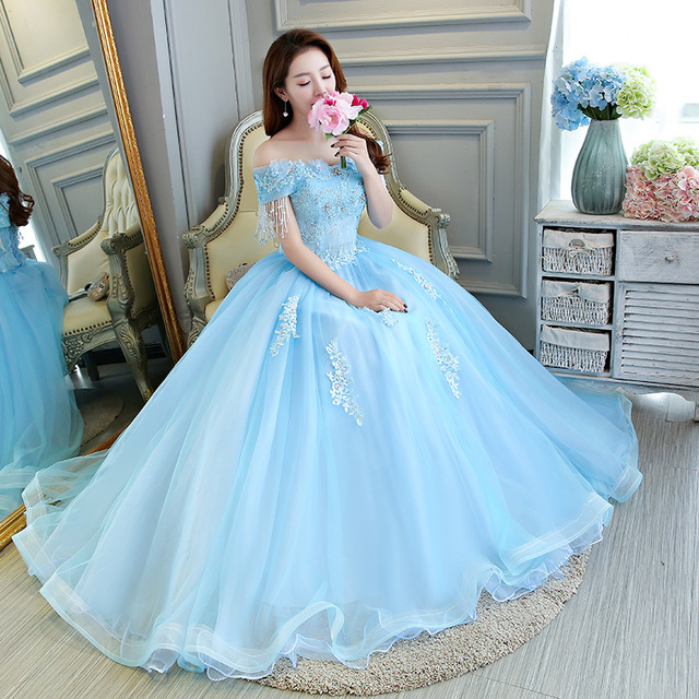 100%real luxury light blue cinderella cosplay vintage ball gown ...