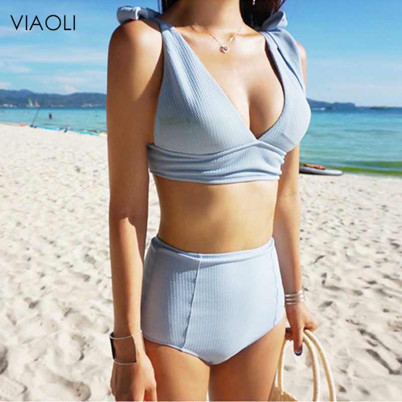 Mavi Gri Yüksek Bel Bikini 2018 Yeni Kore Versiyonu Push Up İnce Mayo kadın mayo mayo kadın mayosu Kız Plaj