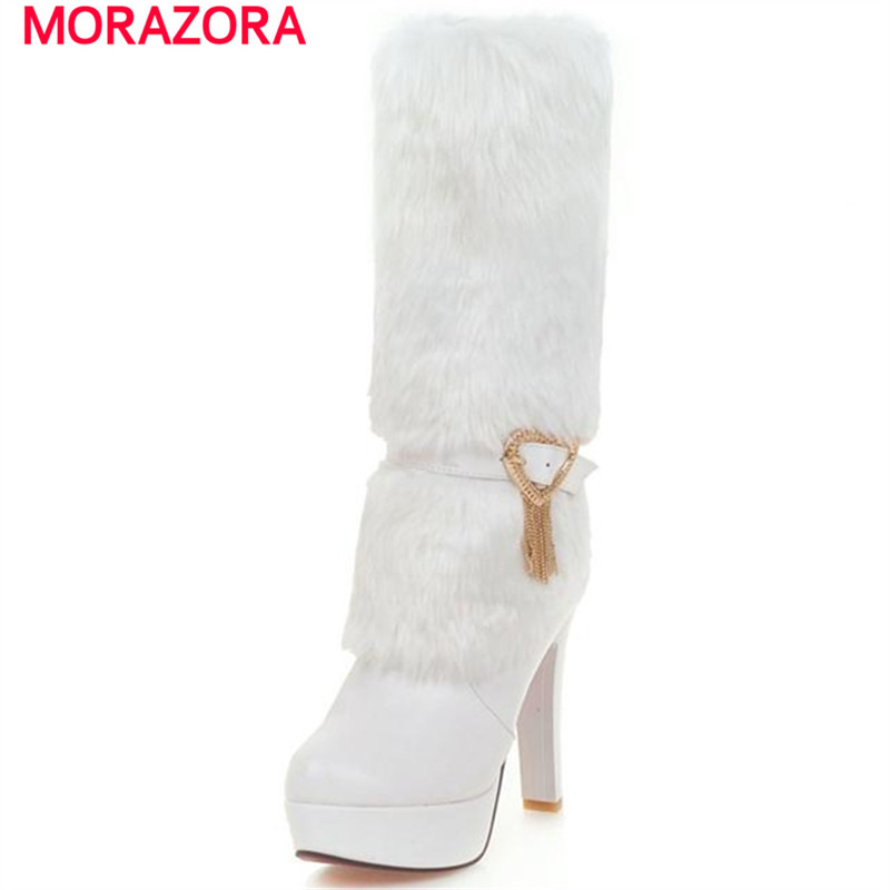 MORAZORA Elegant fashion boots for women platform shoes high heels mid calf boots large size 34-43 buckle winter party shoes new fashion winter boots wool flock shoes women boots platform thick high heels mid calf boots two swear big size 34 43 0715