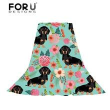 FORUDESIGNS Doxie Dog Dachshund Print Women Scarves Ladies Flower Pattern Slik Scrf for Females Fresh Style Beach Towel Wraps