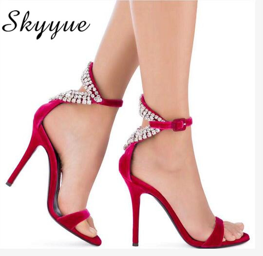 SKYYUE 2018 New Genuine Leather Crystal Beading Straps Women Summer Autumn Sandals Sexy Open Toe Thin HIgh Heel Sandals Wedding