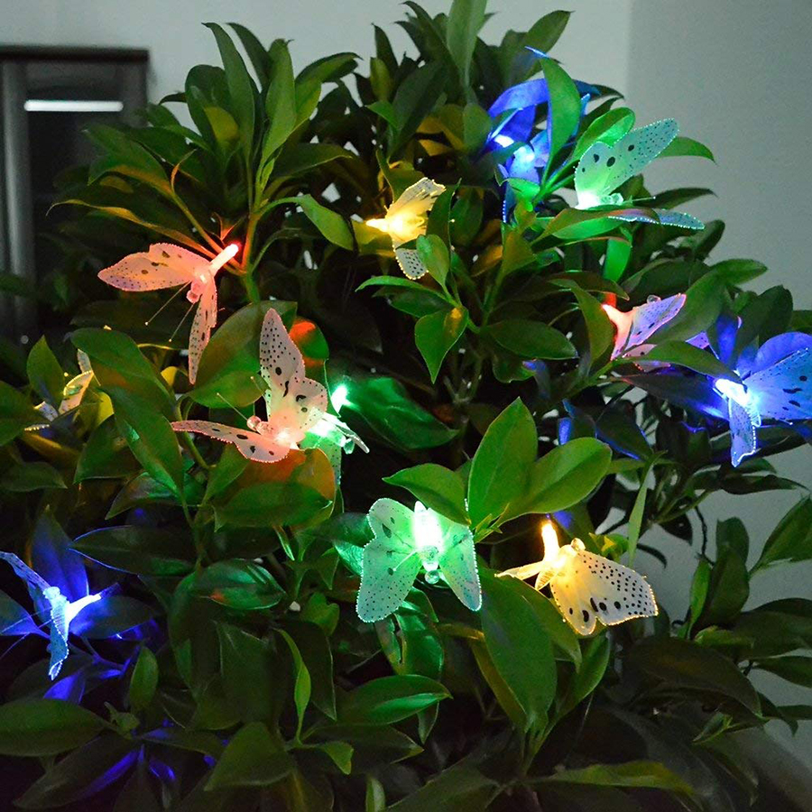 Solar Powered 12leds Butterfly Fiber Optic led Fairy String Lights Waterproof Christmas Outdoor Garden Holiday Night Lighting in LED String from Lights Lighting