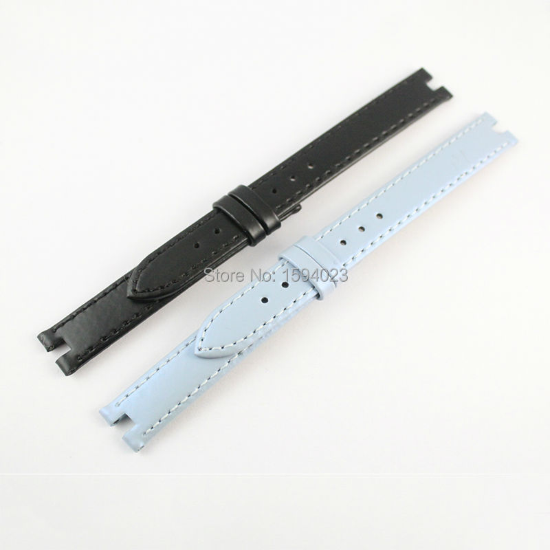 12mm (Buckle12mm) T084210 Blue and Black Genuine Leather Watch Bands Strap Free shipping