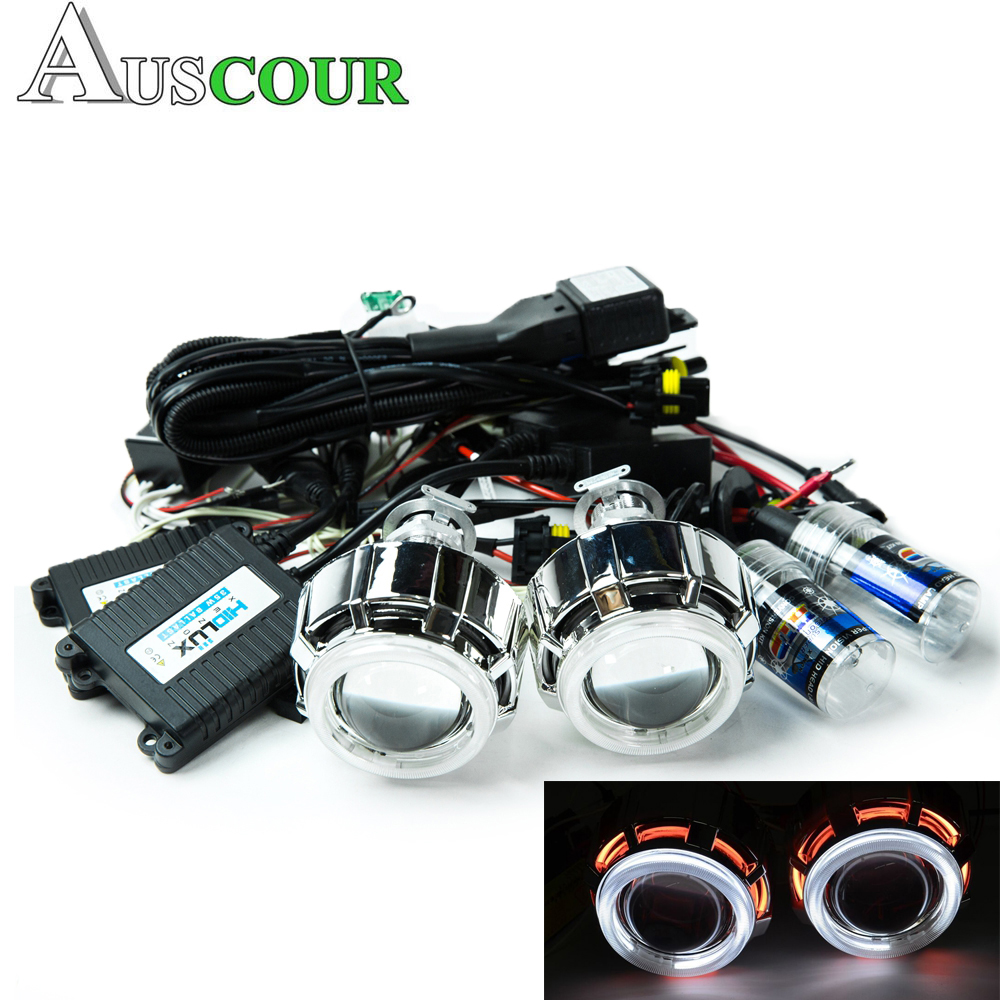 2pcs 2.0 inch bixenon Projector Lens Light Angel Eyes DRL hid xenon kit xenon bulb headlamp shrouds fit for H1 H4 H7 motorcycle
