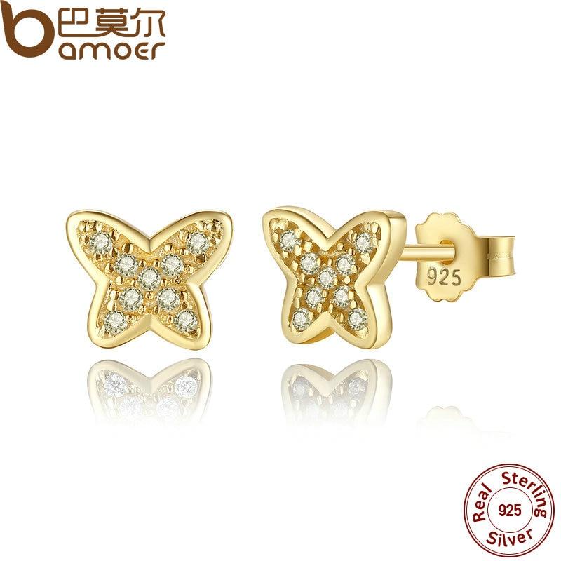 BAMOER 925 Sterling Silver Petite Butterfly Stud Earrings, Clear CZ Female Earrings for Women Wedding Fine Jewelry PAS439