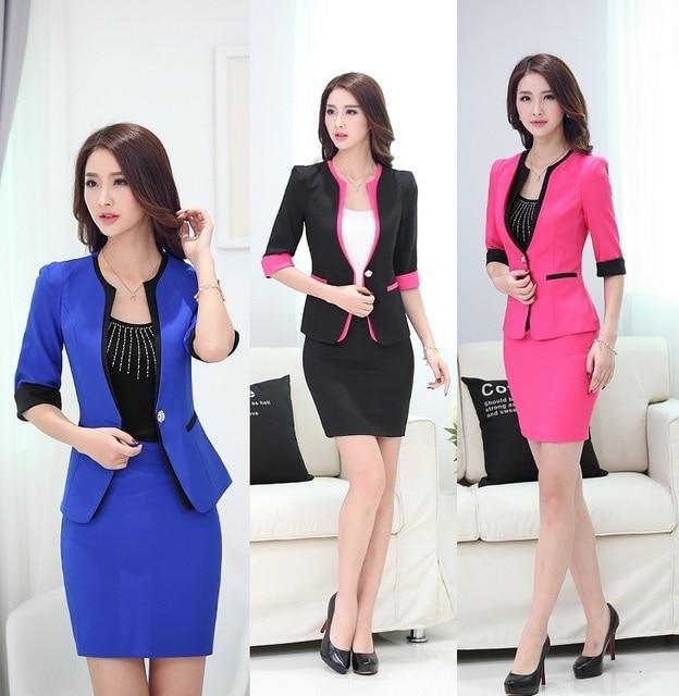 592943ccfc6 2019 Primavera Verano uniforme Formal diseño profesional trajes de negocios  Blazers y falda trajes mujer Blazers