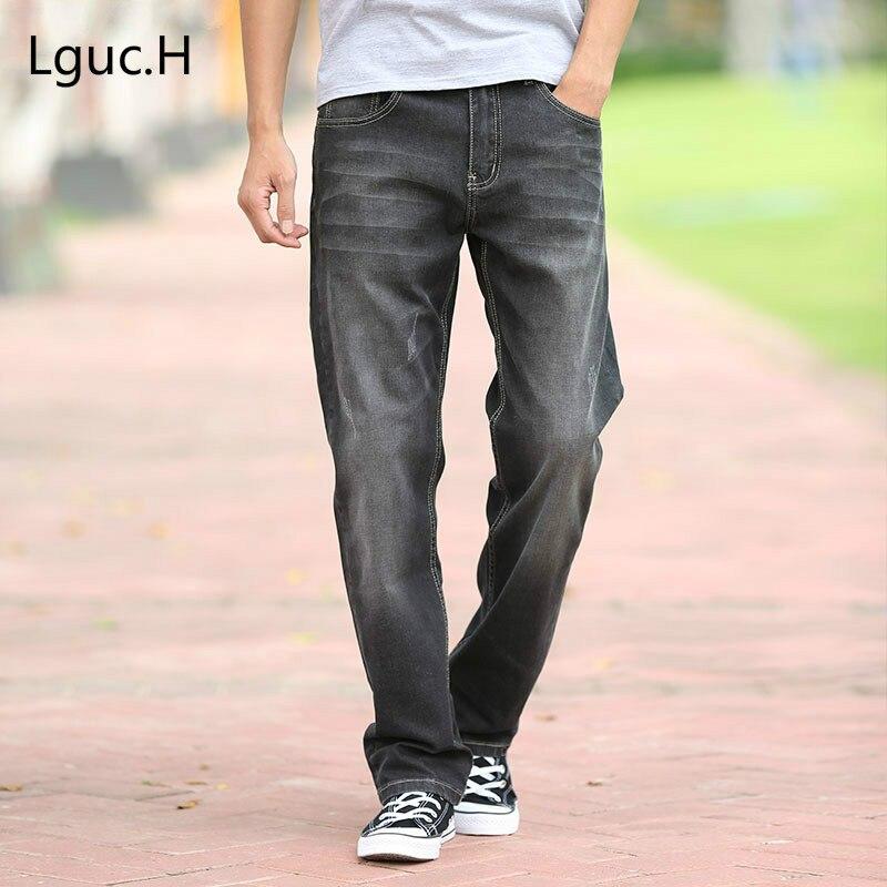 Lguc. H джинсы мужские джинсы Повседневное классические средней посадки свободные длинные брюки Мужской сплошной Прямые джинсы для Для мужчи...
