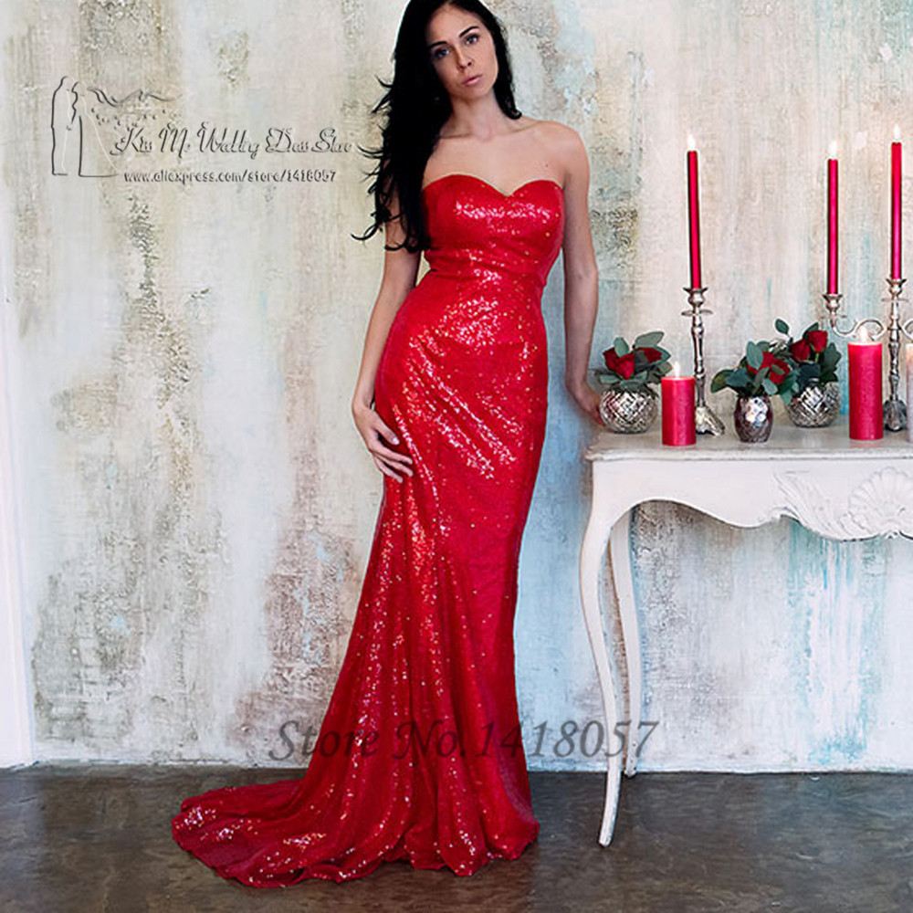 Sparky longue Robe de soirée en paillettes rouges Sexy robes de soirée formelles sirène robes de bal 2016 robes de soirée Longo Robe de soirée
