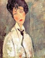 Çerçevesiz Tuval Baskılar-Bir Siyah Kravat Kadın Portresi-Amedeo Modigliani Tarafından
