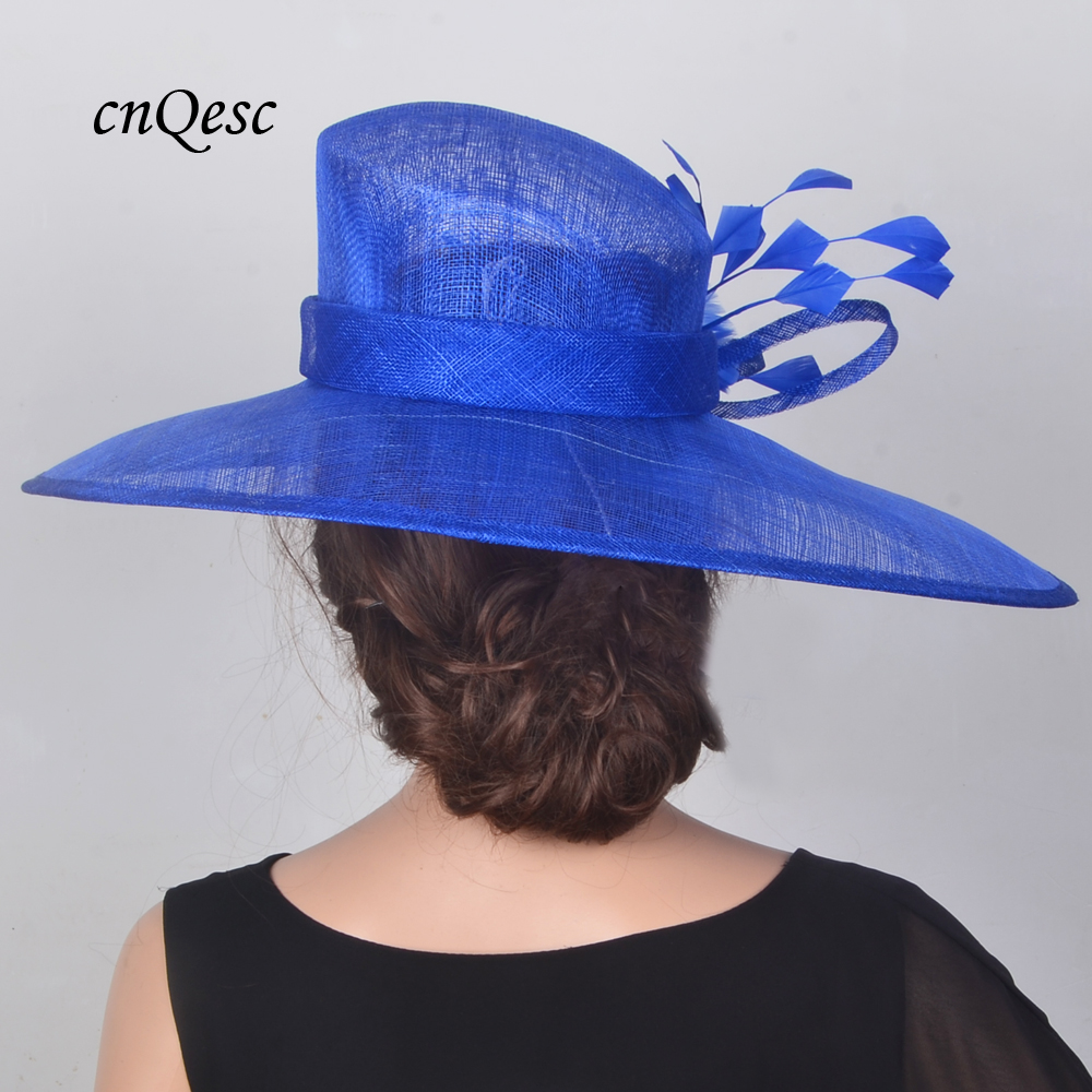 3caa721b63b NEW Cobalt royal blue X Large Sinamay Hats Wedding Fascinator fedora with  feathers for Kentucky Derby.-in Fedoras from Women s Clothing   Accessories  on ...