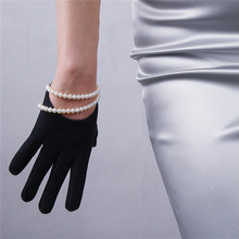 Woman Gloves Fashion Black Suede Leather Dance Party Evening