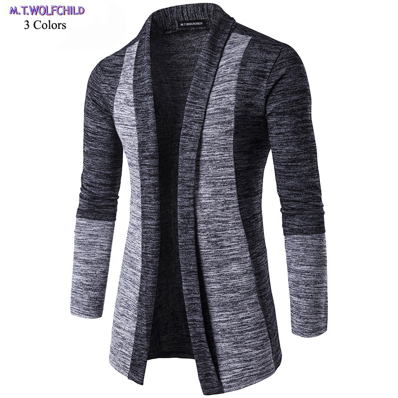 Mens Sweaters 2018 Autumn Mens V-neck Long Sleeve Patchwork Knitted Coats Casual Mens Cardigan Knitting Sweaters Fashion Spring