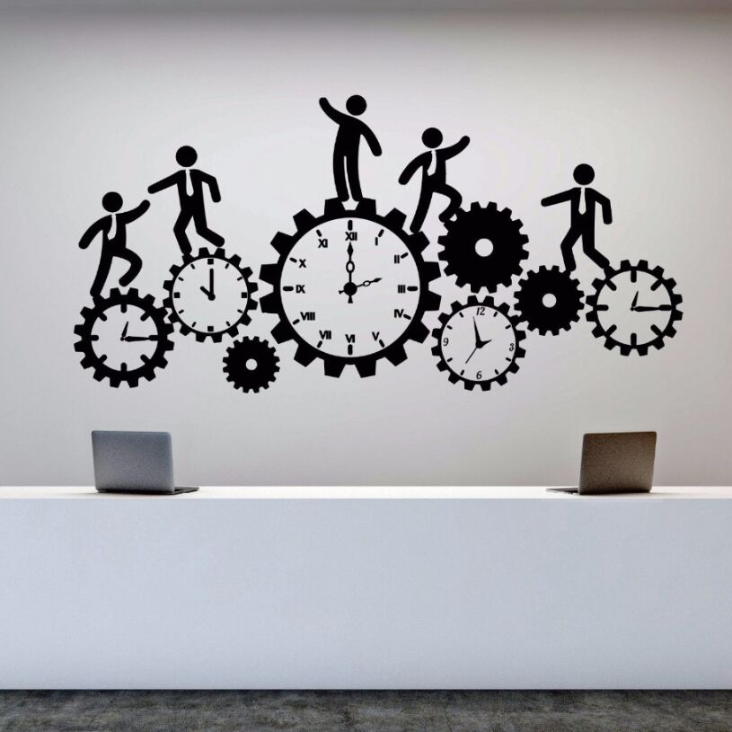 Vinyl Wall Decal Removable Team Work Business Clock Sticker Office Decor Art Business Clock Gear Time Stickers Wall Decor AY421