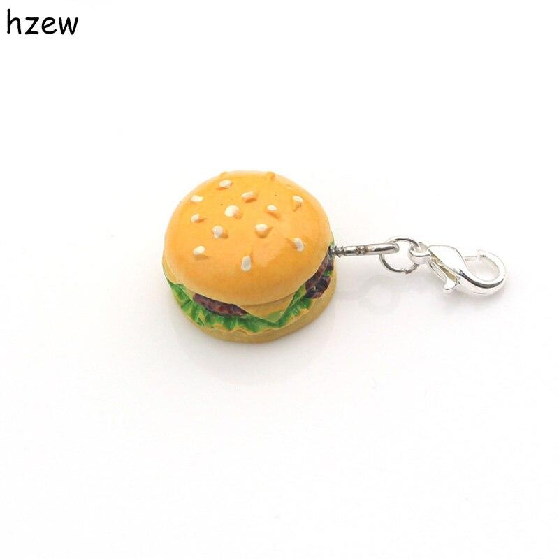 hzew new simulation food hamburger ice cream cake donuts small pendant jewelry accessories