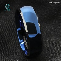8mm Tungsten Men S Blue Domed With Beveled Silver Edges Band Ring Free Shipping