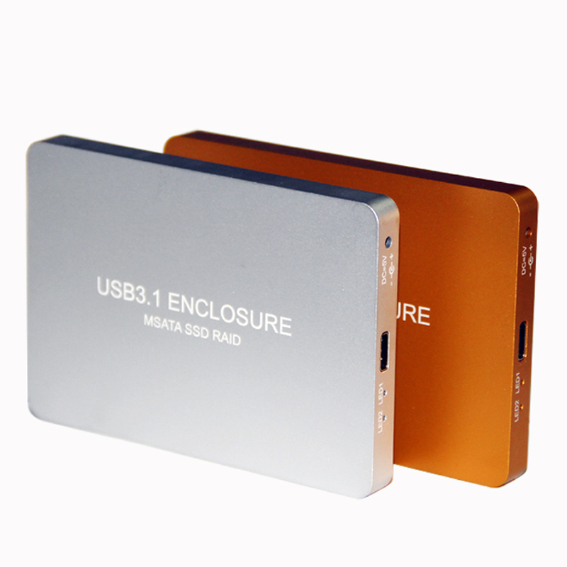 USB-C TYPE-C USB3.1 à 2 Ports MSATA SSD Raid 0 1 PM adaptateur de boîtier HDD 3030 3050 boîtier de disque dur boîtier externe 800 mo