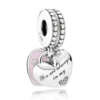 Authentic 925 Sterling Silver Bead Charm Mother And Daughter Hearts With Crystal Pendant Beads Fit Pandora