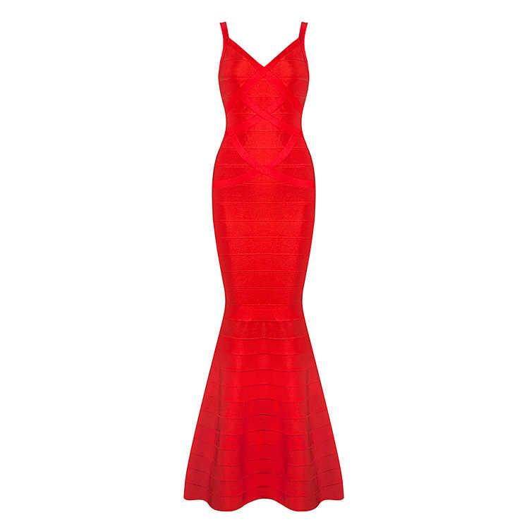 Goсексуальный 2017 Новый летний женский красный черный v-образный вырез без рукавов с открытой спиной рыбий хвост длинные свадебные вечерние бандажные платья