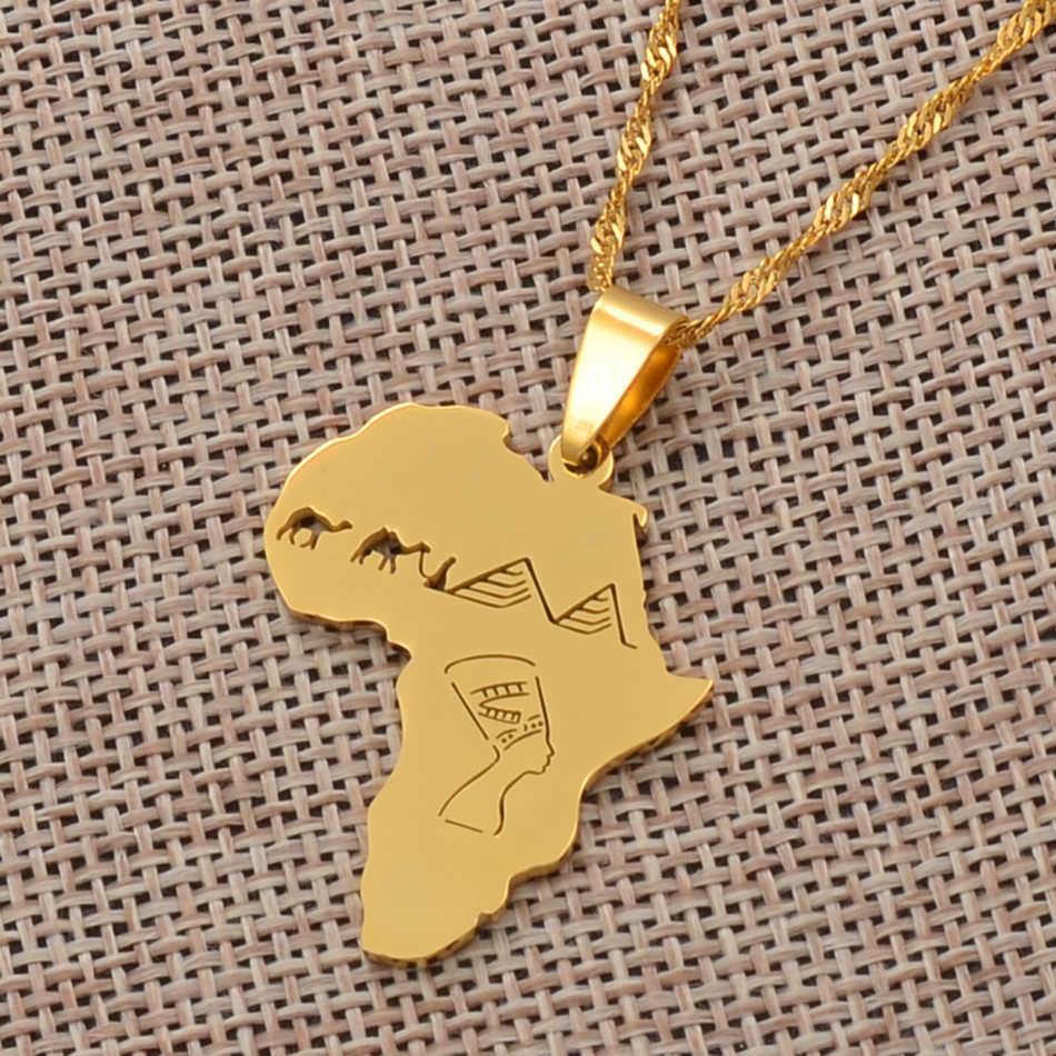 Anniyo mapa afryki z egipską królową Nefertiti i wielbłąd i piramida wisiorek naszyjniki afrykańska biżuteria prezenty #112221
