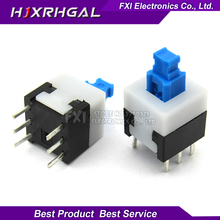 New 20PCS 8X8 8*8 mm 6Pin Push Tactile   Switch Self lock /Off button Latching switch Wholesale Electronic
