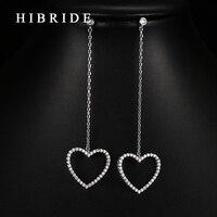HIBRIDE Jewelry New Jewelry Long Chain Drop Earrings Luxury Mirco Diamond Paved Heart Shape Earrings E
