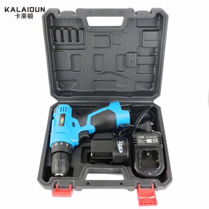KALAIDUN 21 V Perceuse Électrique Outils Électriques Portables Tournevis Électrique Batterie Au Lithium Sans Fil Perceuse à Percussion Avec Supplémentaire Boîte À Outils