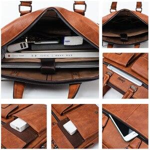 Image 5 - JEEP BULUO Famous Brand 2pcs Set Mens Briefcase Bags Hanbags For Men Business Fashion Messenger Bag 13.3 Laptop Bag 8001/8888