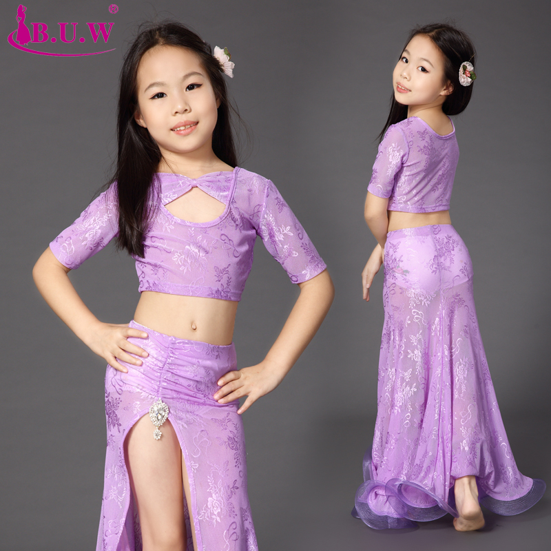 2017 Belly Dance Kostymer Belly Dance Kostymer Försäljning Bomull Kid Girls Nya Professionella Square Suit Toppar + kjol 2st Set Set Kostym